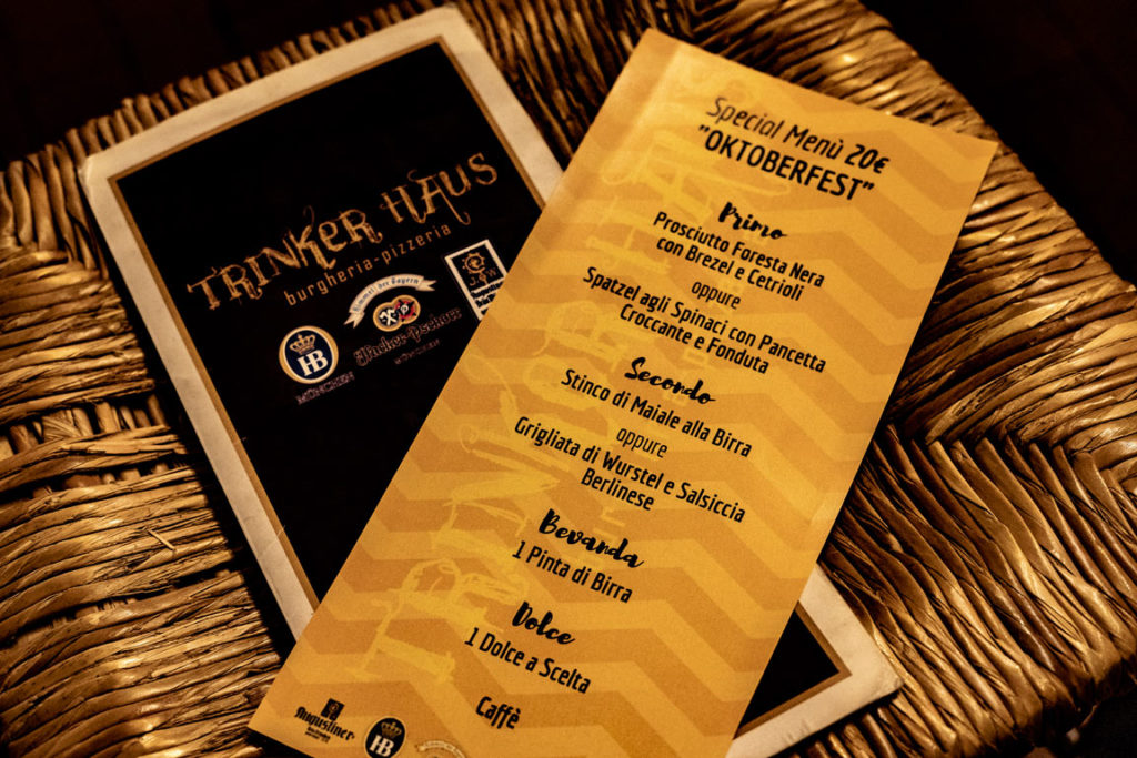 Special Menu oktoberfest al Trinker Haus
